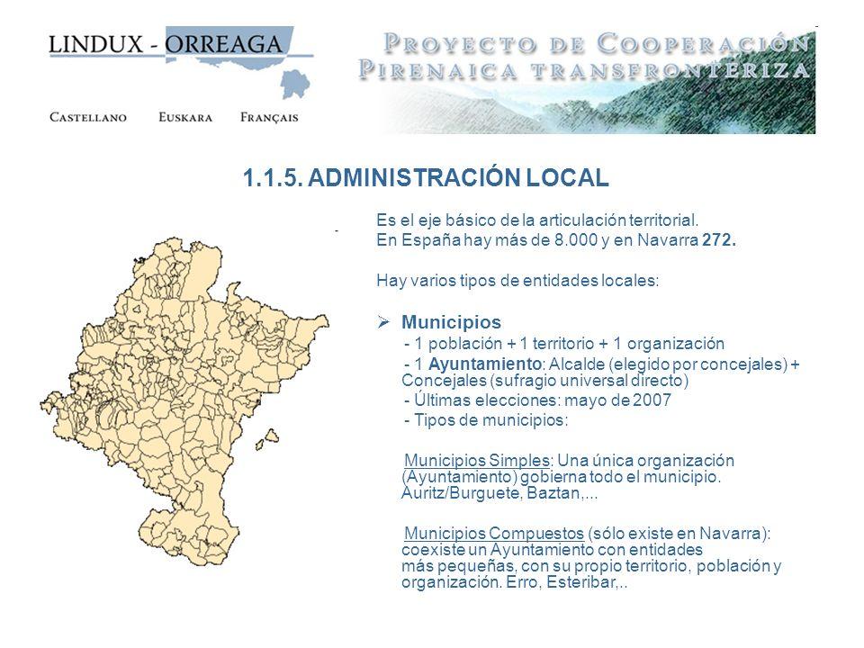 1.1.5. ADMINISTRACIÓN LOCAL Municipios
