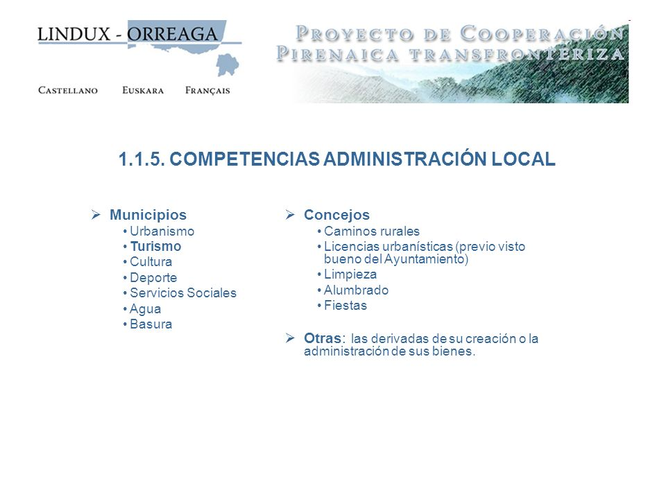 1.1.5. COMPETENCIAS ADMINISTRACIÓN LOCAL