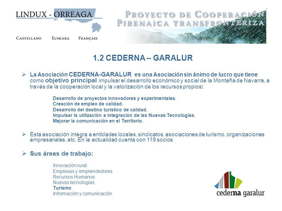1.2 CEDERNA – GARALUR Sus áreas de trabajo: