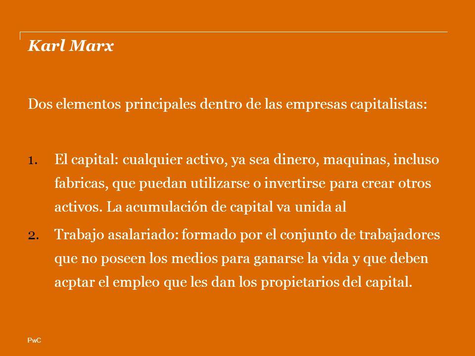 Karl Marx Dos elementos principales dentro de las empresas capitalistas:
