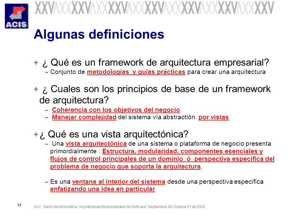 Algunas definiciones ¿ Qué es un framework de arquitectura empresarial Conjunto de metodologías y guías prácticas para crear una arquitectura.