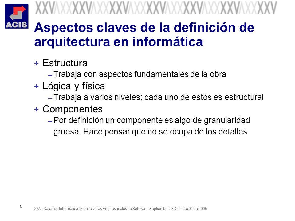 Aspectos claves de la definición de arquitectura en informática