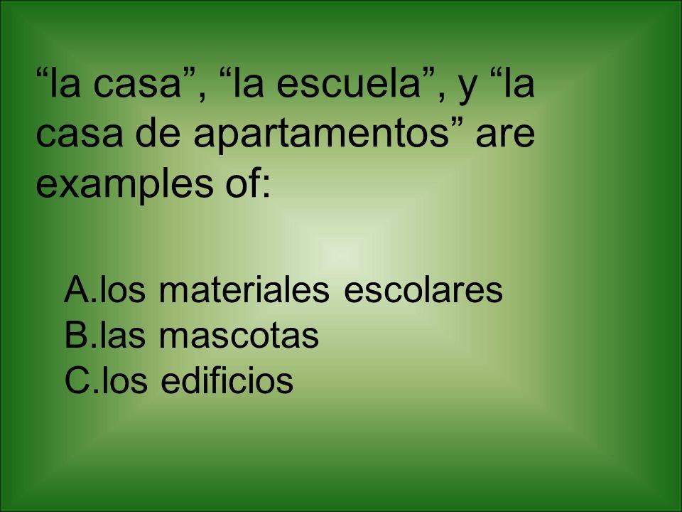 la casa , la escuela , y la casa de apartamentos are examples of: