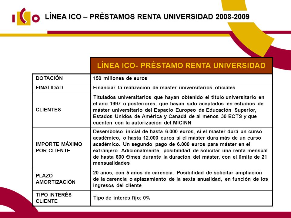 LÍNEA ICO- PRÉSTAMO RENTA UNIVERSIDAD
