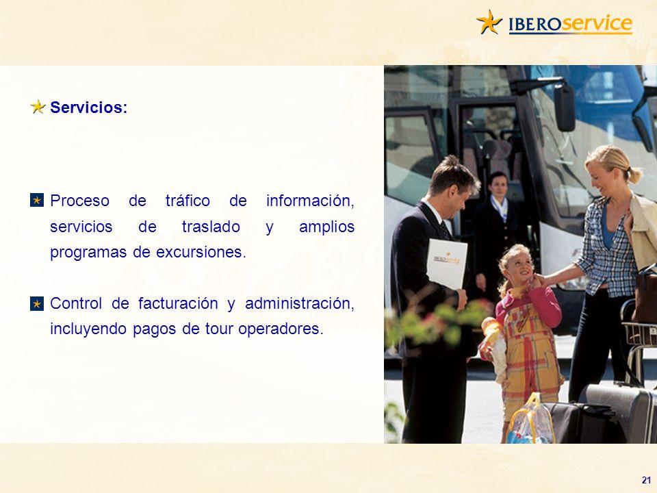 Servicios: Proceso de tráfico de información, servicios de traslado y amplios programas de excursiones.
