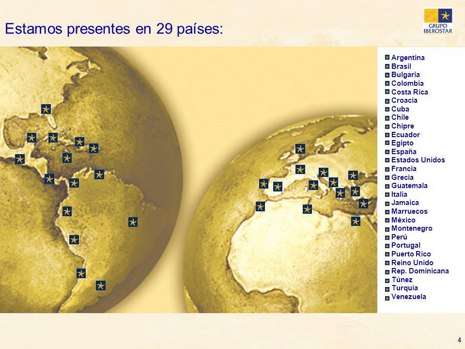 Estamos presentes en 29 países: