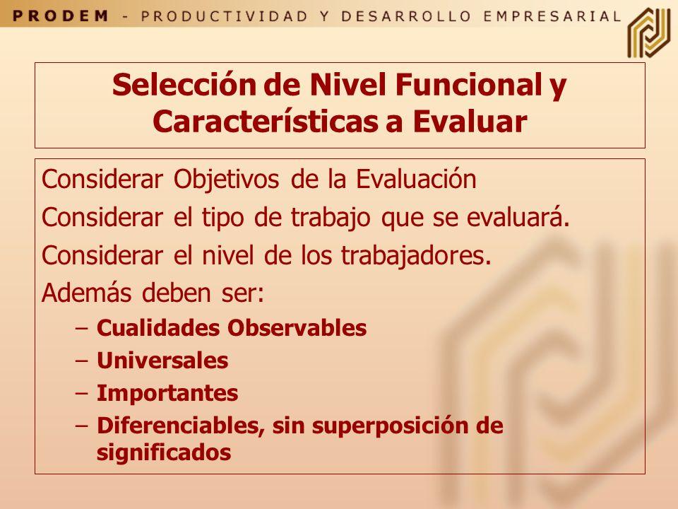 Selección de Nivel Funcional y Características a Evaluar