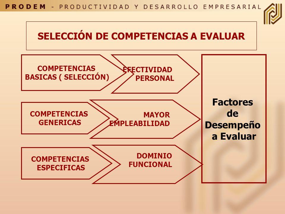 SELECCIÓN DE COMPETENCIAS A EVALUAR