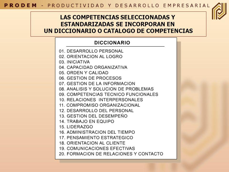 LAS COMPETENCIAS SELECCIONADAS Y ESTANDARIZADAS SE INCORPORAN EN