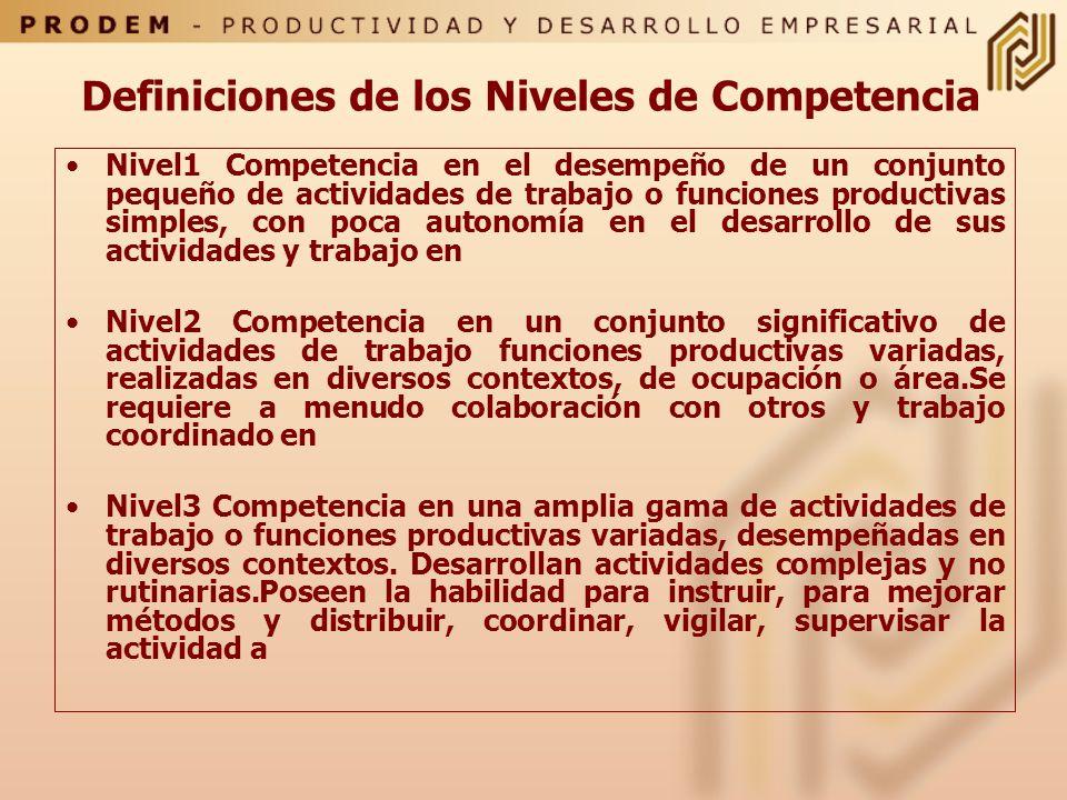 Definiciones de los Niveles de Competencia