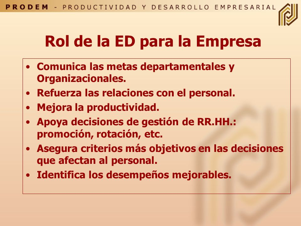 Rol de la ED para la Empresa