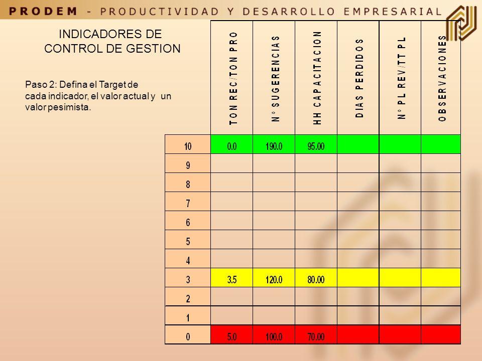 INDICADORES DE CONTROL DE GESTION Paso 2: Defina el Target de