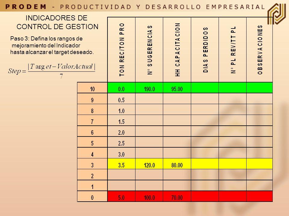 INDICADORES DE CONTROL DE GESTION Paso 3: Defina los rangos de