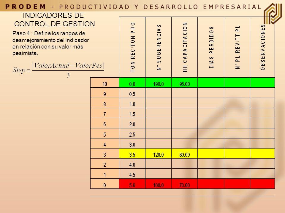 INDICADORES DE CONTROL DE GESTION Paso 4 : Defina los rangos de