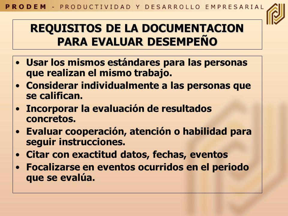 REQUISITOS DE LA DOCUMENTACION PARA EVALUAR DESEMPEÑO