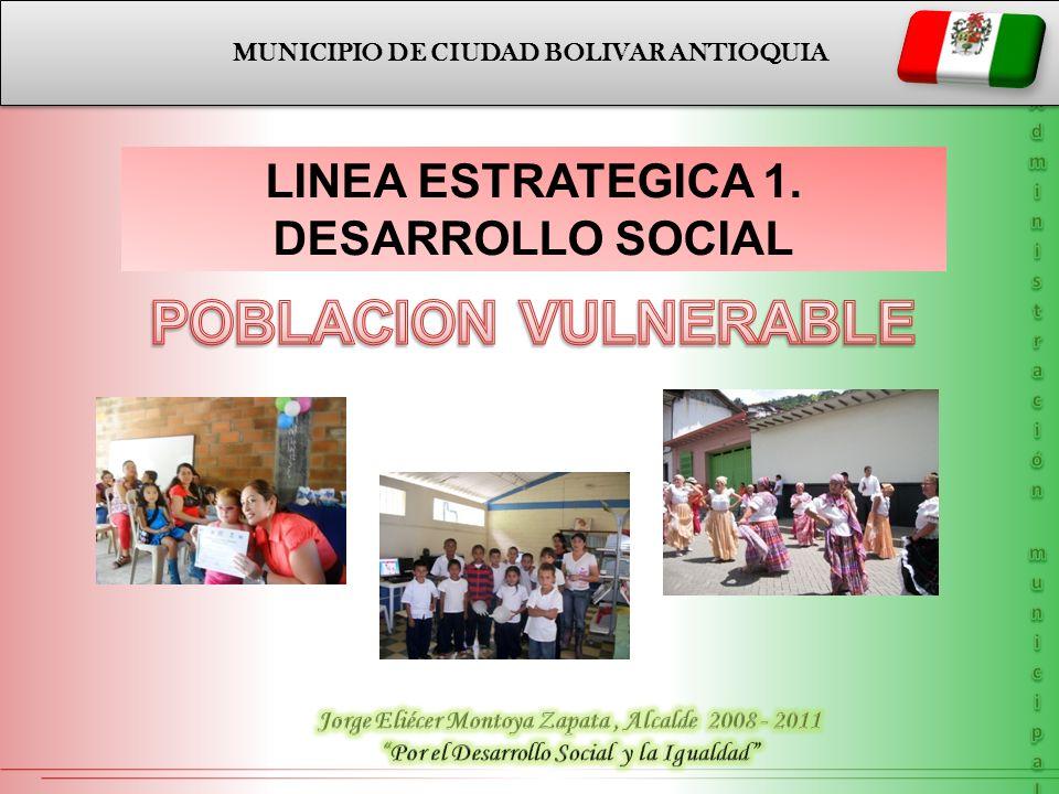 POBLACION VULNERABLE LINEA ESTRATEGICA 1. DESARROLLO SOCIAL