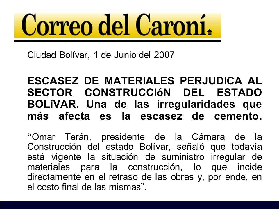 Ciudad Bolívar, 1 de Junio del 2007