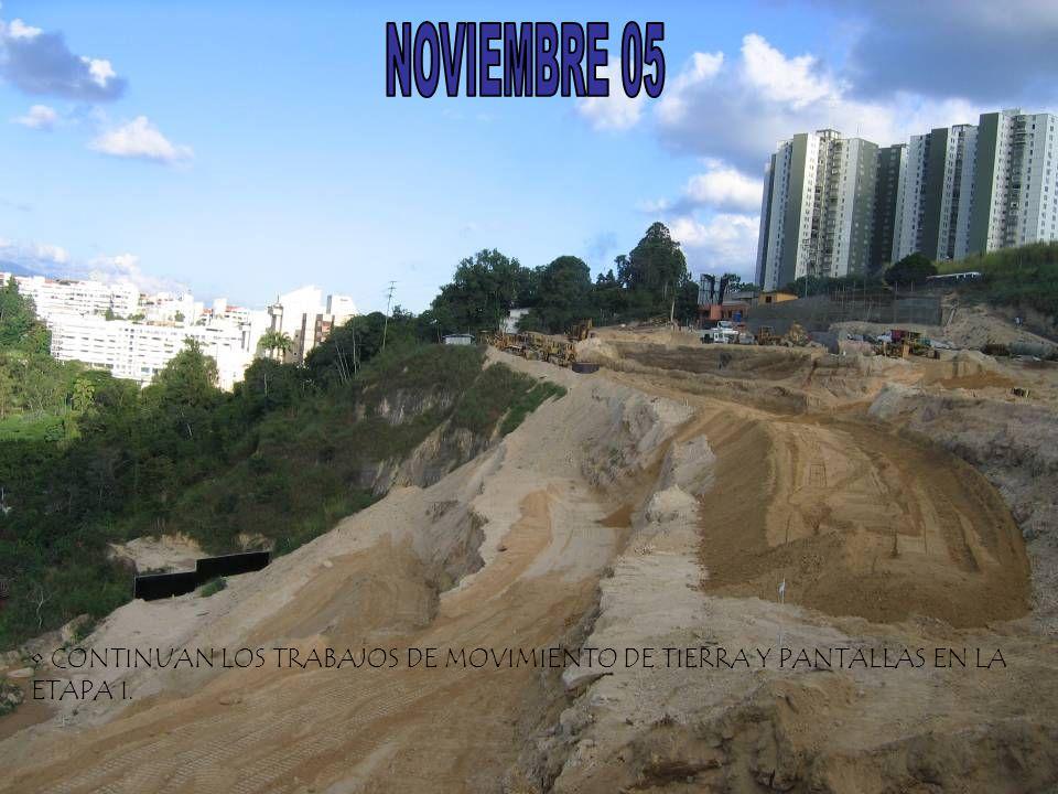 NOVIEMBRE 05 CONTINUAN LOS TRABAJOS DE MOVIMIENTO DE TIERRA Y PANTALLAS EN LA ETAPA I.