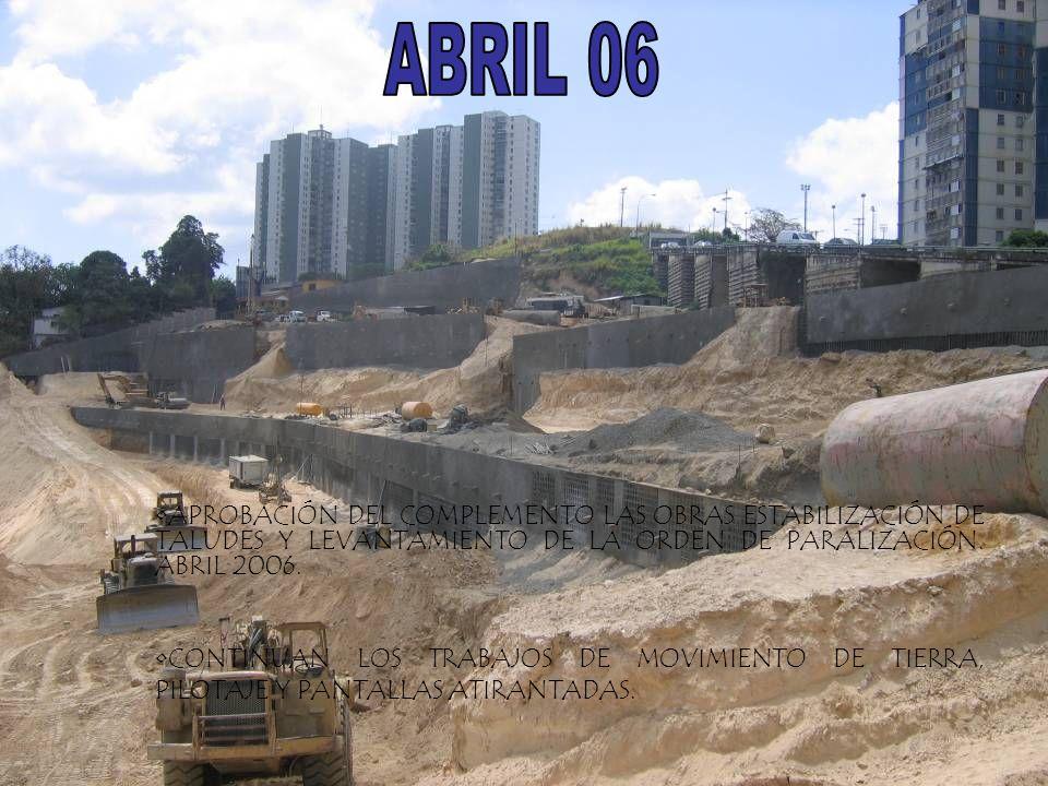 ABRIL 06 APROBACIÓN DEL COMPLEMENTO LAS OBRAS ESTABILIZACIÓN DE TALUDES Y LEVANTAMIENTO DE LA ORDEN DE PARALIZACIÓN. ABRIL 2006.
