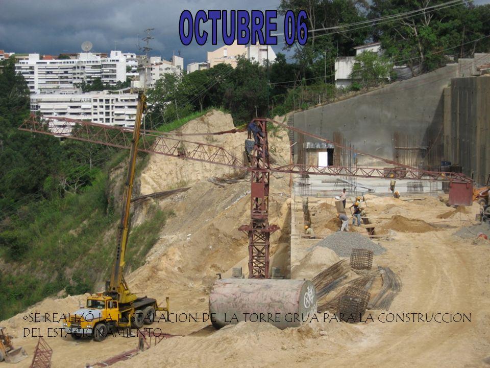 OCTUBRE 06 SE REALIZÓ LA INSTALACION DE LA TORRE GRUA PARA LA CONSTRUCCION DEL ESTACIONAMIENTO.