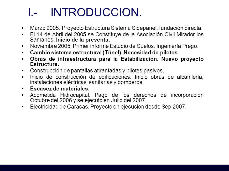 I.- INTRODUCCION. Marzo 2005. Proyecto Estructura Sistema Sidepanel, fundación directa.