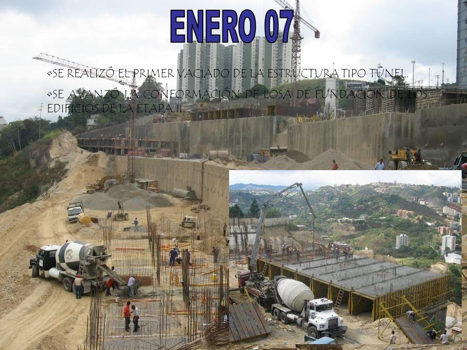 ENERO 07 SE REALIZÓ EL PRIMER VACIADO DE LA ESTRUCTURA TIPO TÚNEL.