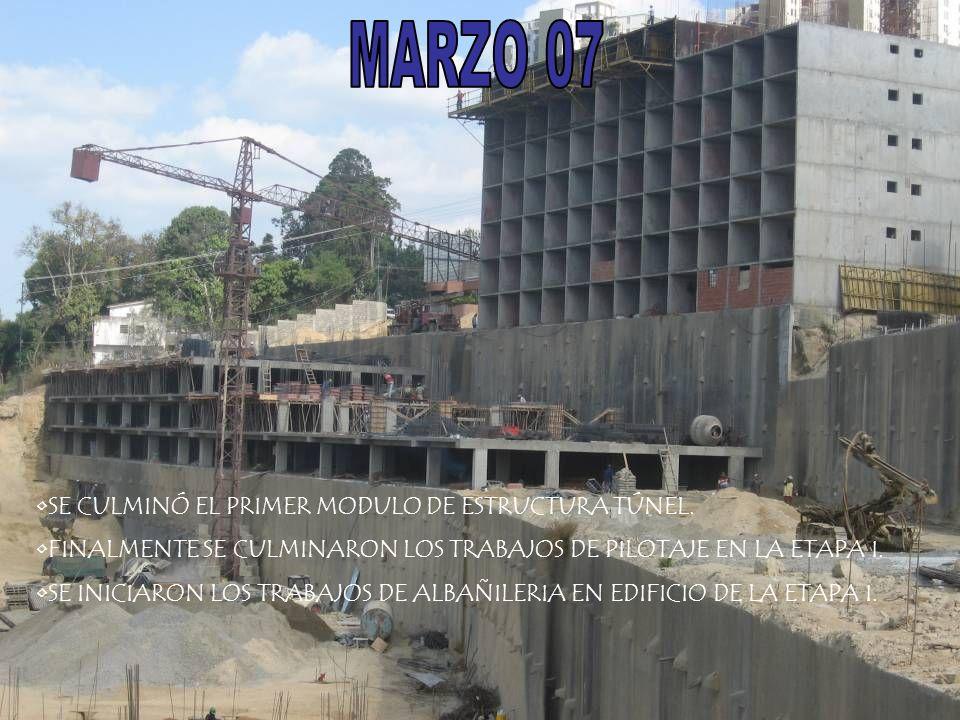 MARZO 07 SE CULMINÓ EL PRIMER MODULO DE ESTRUCTURA TÚNEL.