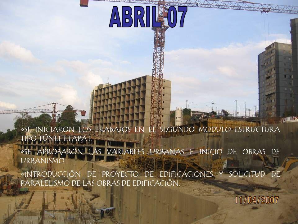 ABRIL 07 SE INICIARON LOS TRABAJOS EN EL SEGUNDO MODULO ESTRUCTURA TIPO TÚNEL ETAPA I.