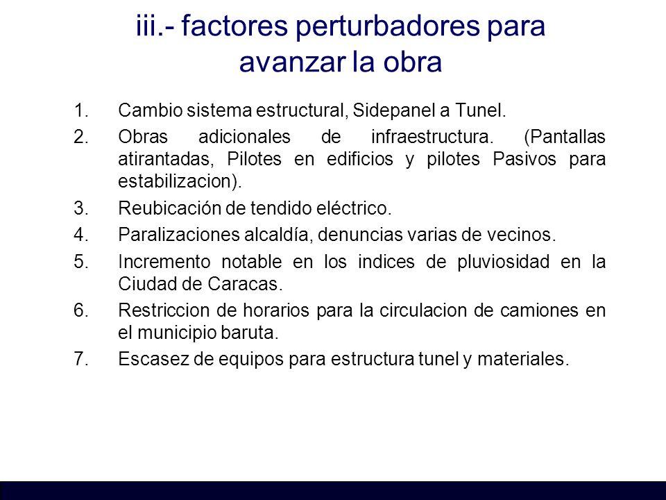 iii.- factores perturbadores para avanzar la obra