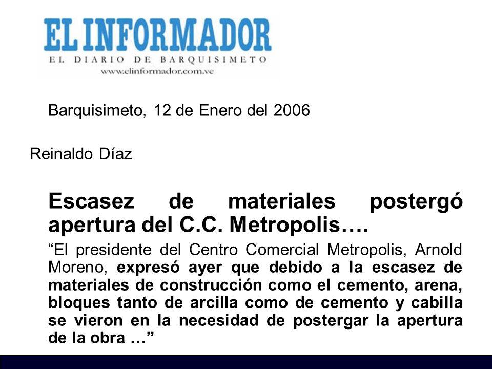 Barquisimeto, 12 de Enero del 2006