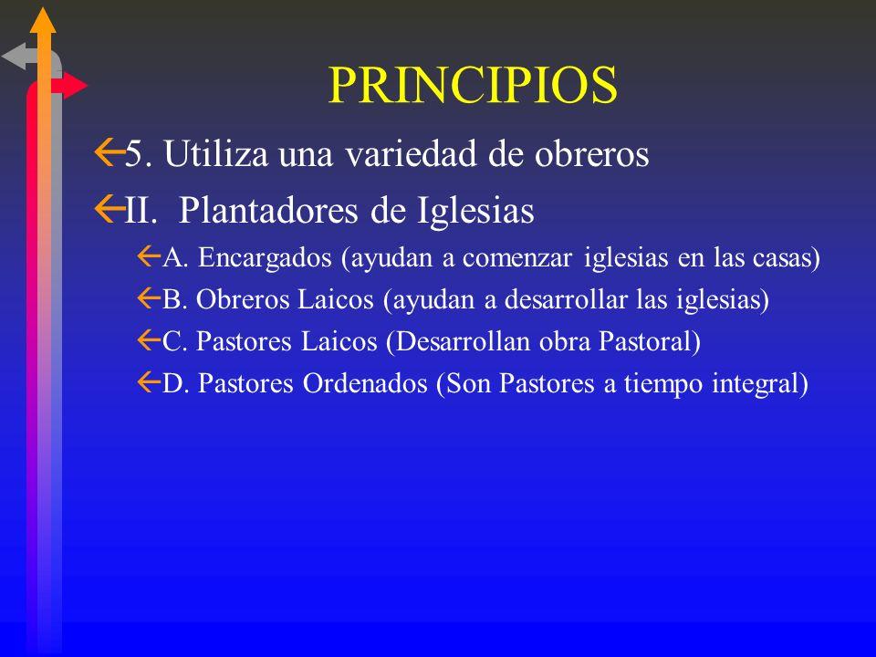PRINCIPIOS 5. Utiliza una variedad de obreros