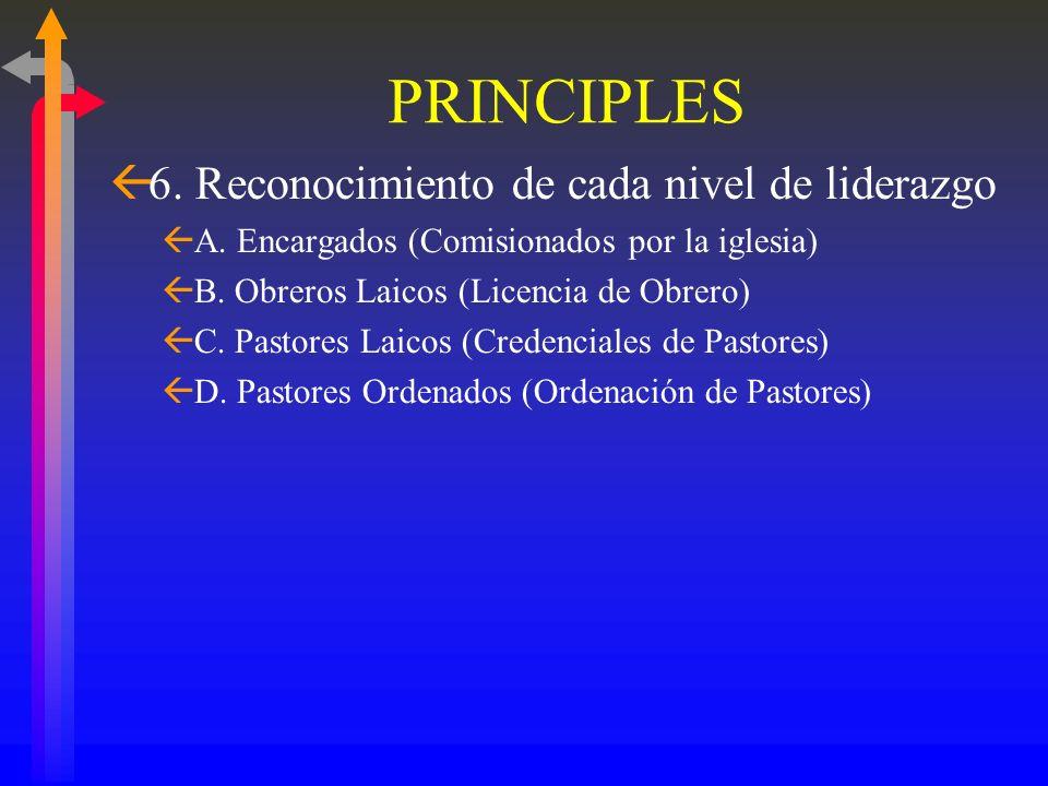 PRINCIPLES 6. Reconocimiento de cada nivel de liderazgo