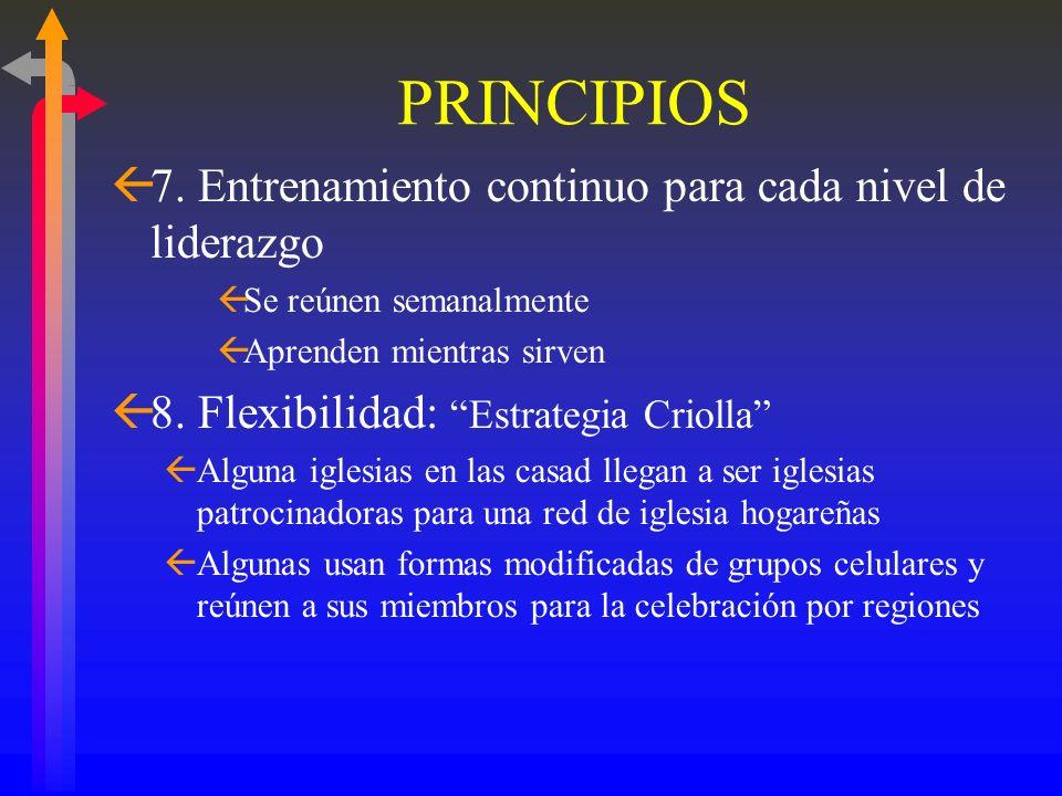 PRINCIPIOS 7. Entrenamiento continuo para cada nivel de liderazgo
