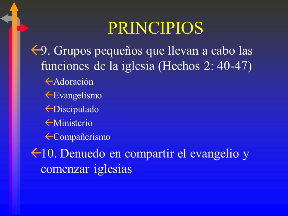 PRINCIPIOS 9. Grupos pequeños que llevan a cabo las funciones de la iglesia (Hechos 2: 40-47) Adoración.