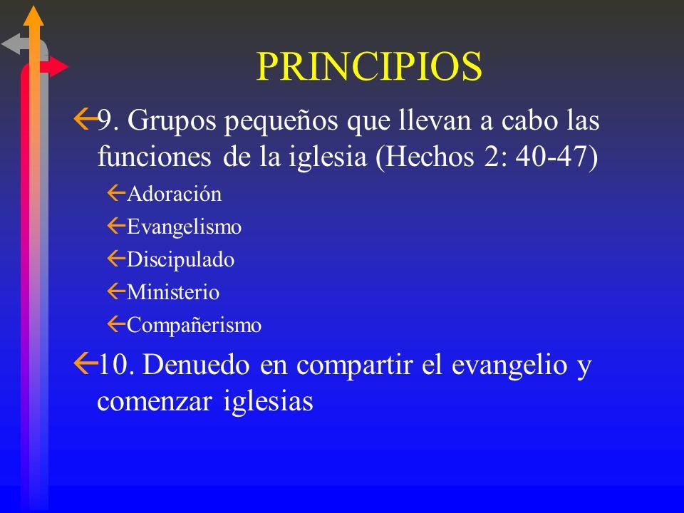 PRINCIPIOS9. Grupos pequeños que llevan a cabo las funciones de la iglesia (Hechos 2: 40-47) Adoración.