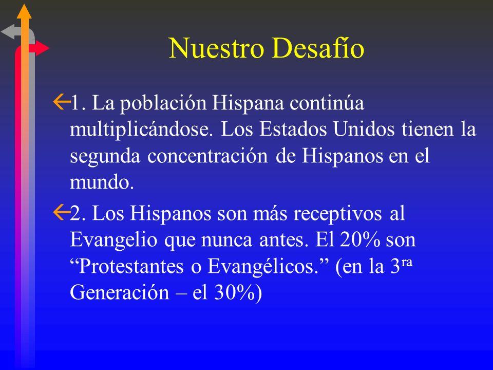 Nuestro Desafío1. La población Hispana continúa multiplicándose. Los Estados Unidos tienen la segunda concentración de Hispanos en el mundo.