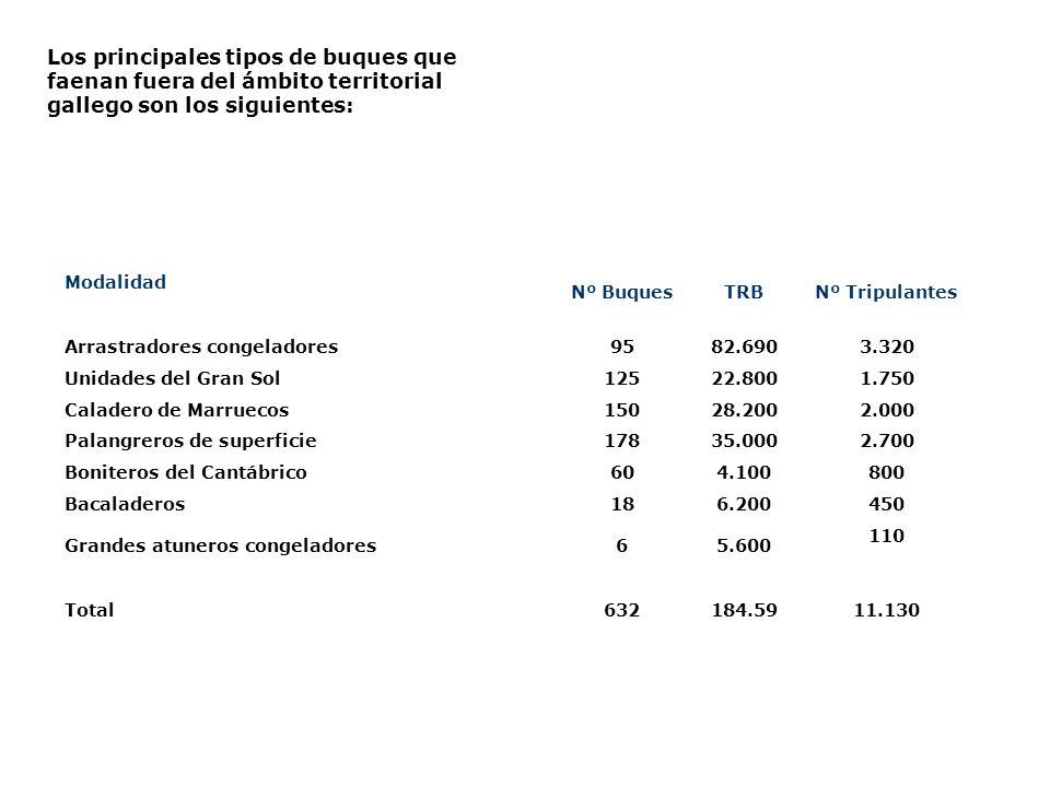 Los principales tipos de buques que faenan fuera del ámbito territorial gallego son los siguientes: