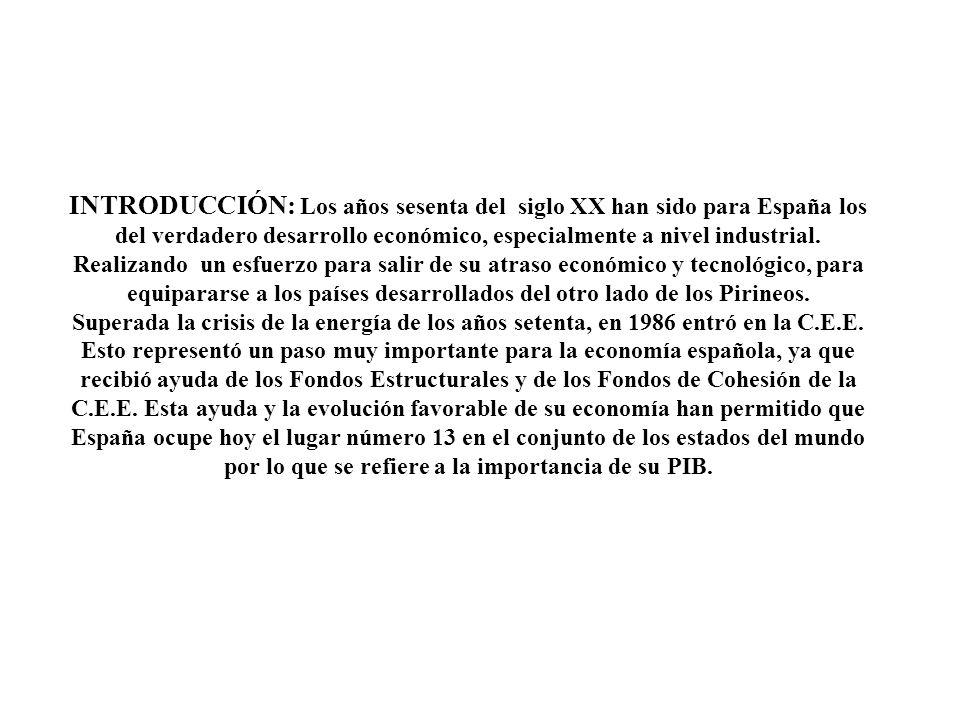 INTRODUCCIÓN: Los años sesenta del siglo XX han sido para España los del verdadero desarrollo económico, especialmente a nivel industrial.