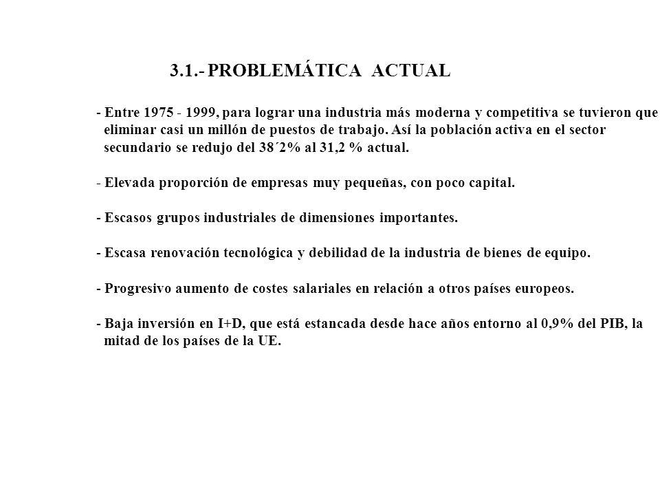 3.1.- PROBLEMÁTICA ACTUAL Entre 1975 - 1999, para lograr una industria más moderna y competitiva se tuvieron que.