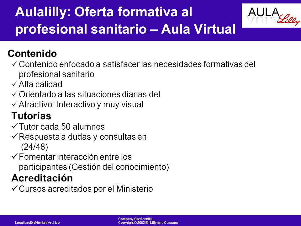 Aulalilly: Oferta formativa al profesional sanitario – Aula Virtual
