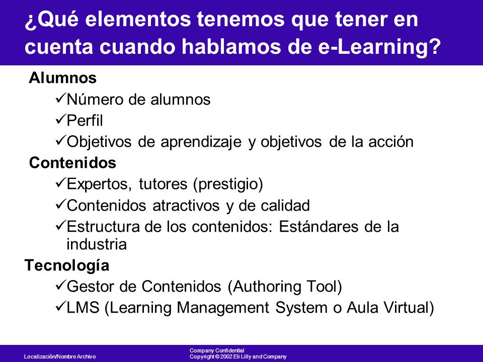 ¿Qué elementos tenemos que tener en cuenta cuando hablamos de e-Learning