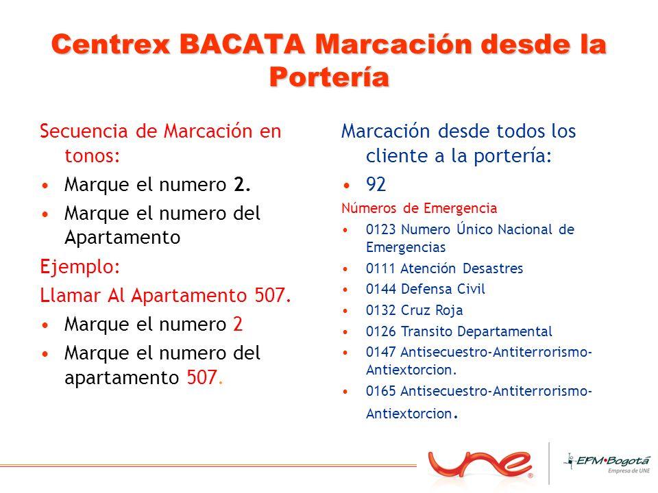 Centrex BACATA Marcación desde la Portería