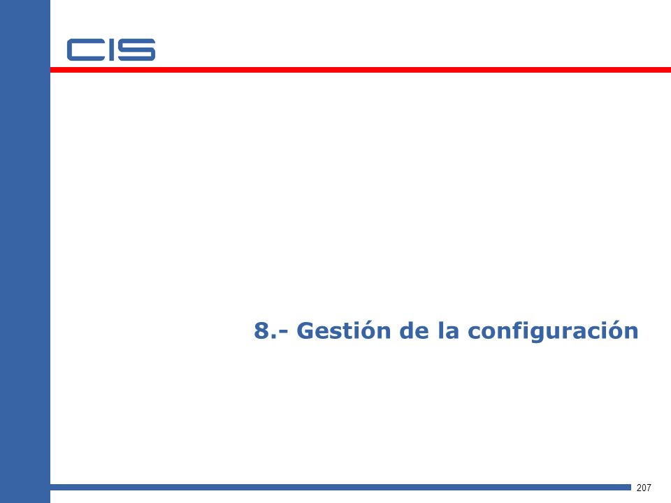 8.- Gestión de la configuración