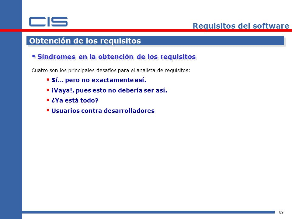 Requisitos del software