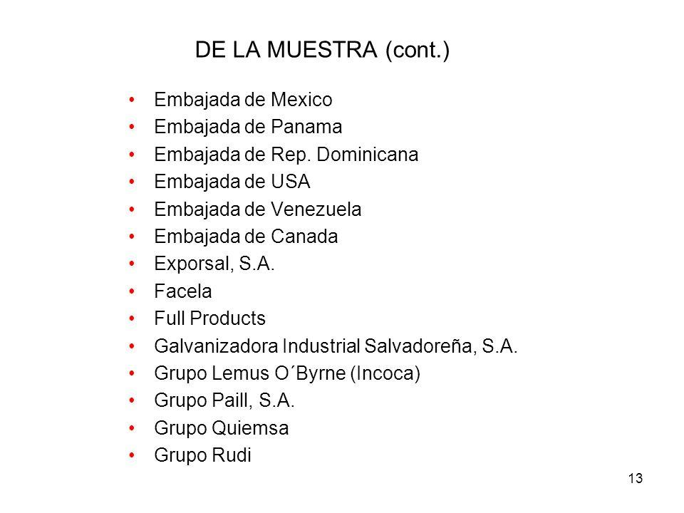 DE LA MUESTRA (cont.) Embajada de Mexico Embajada de Panama