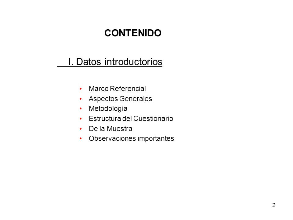 I. Datos introductorios