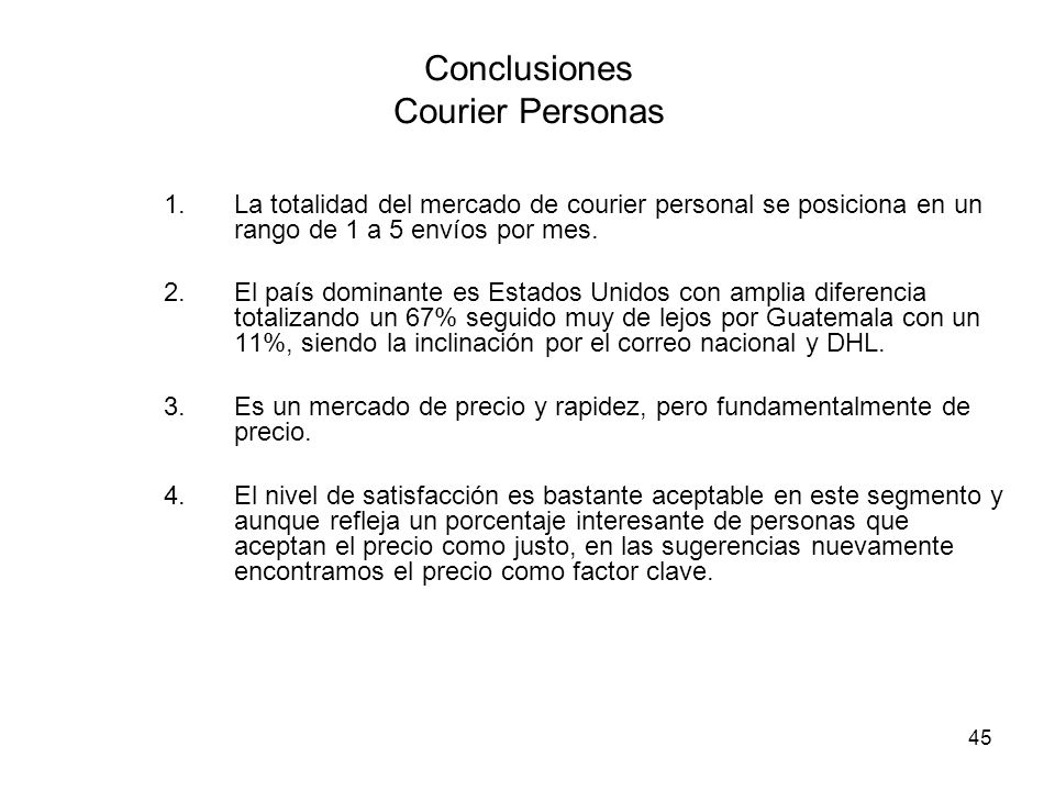 Conclusiones Courier Personas