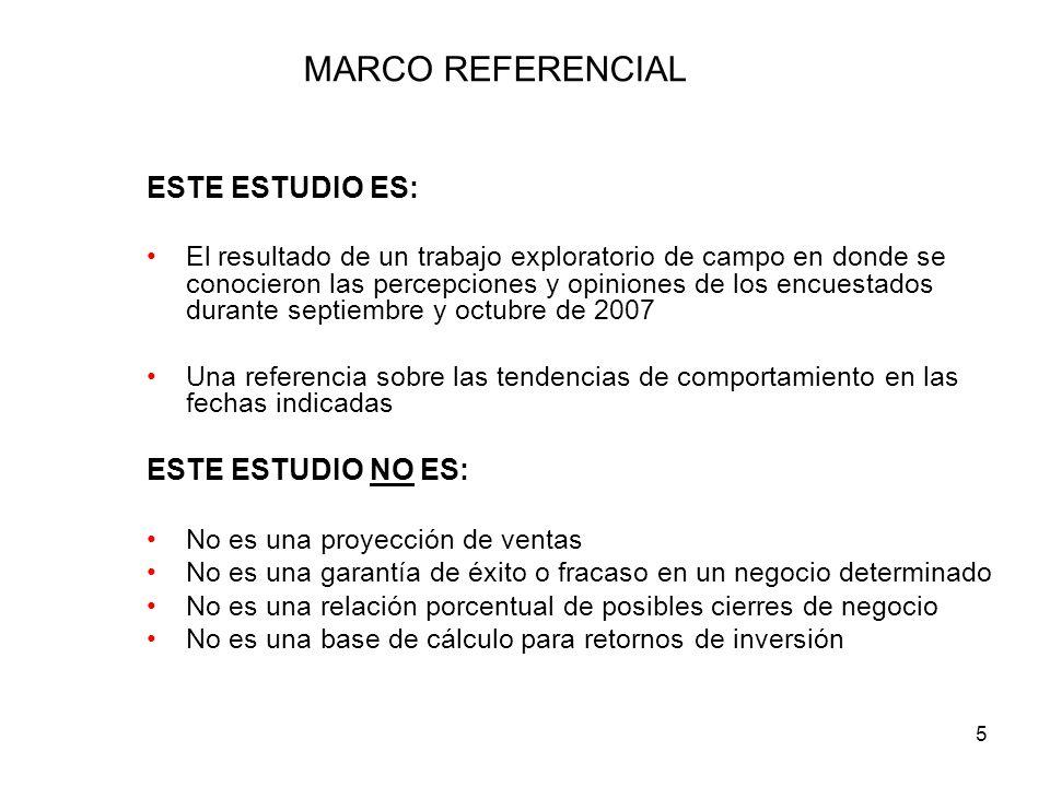 MARCO REFERENCIAL ESTE ESTUDIO ES: ESTE ESTUDIO NO ES: