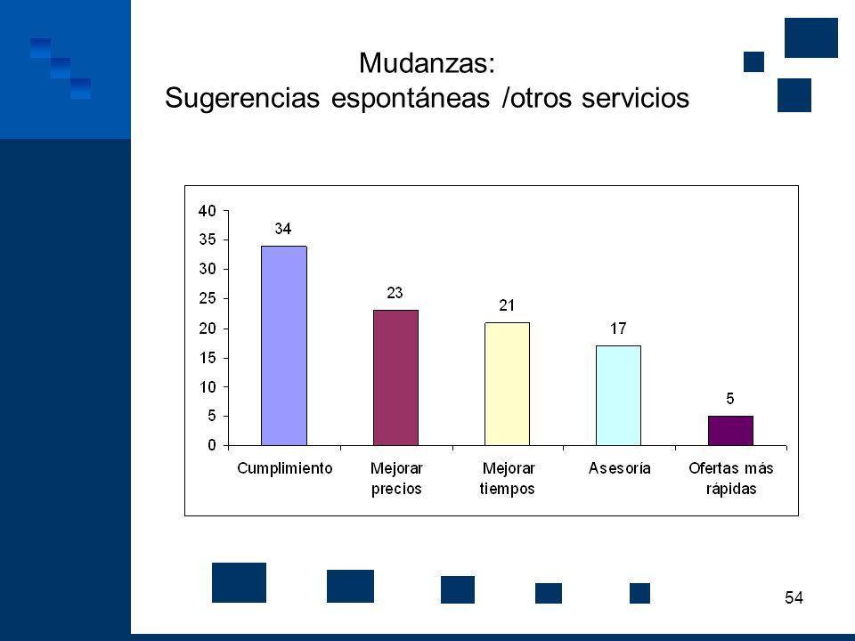 Mudanzas: Sugerencias espontáneas /otros servicios