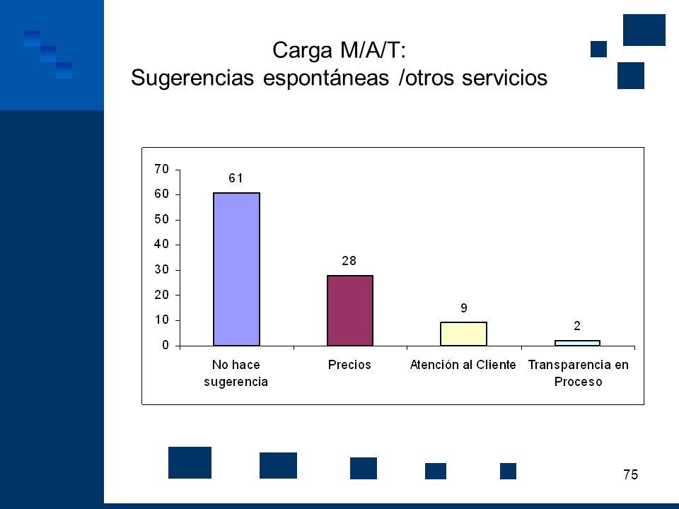 Carga M/A/T: Sugerencias espontáneas /otros servicios